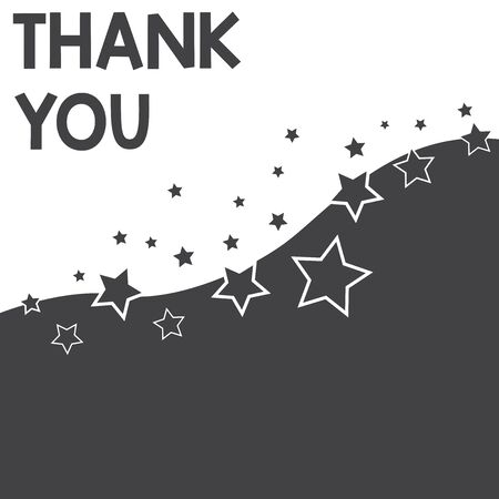 Text sign showing Thank You. Business photo text a polite expression used when acknowledging a gift or service Abstract photo Black and White Background Stars and Wave Yin Yang Style Stockfoto