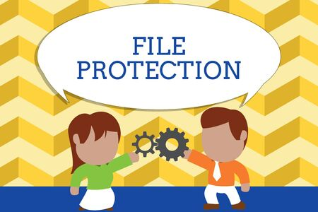 Word writing text File Protection. Business photo showcasing Preventing accidental erasing of data using storage medium Standing young couple sharing gear. Man tie woman skirt commerce relation Standard-Bild