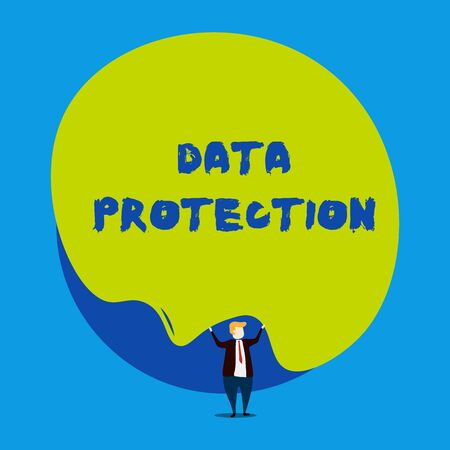 Conceptual hand writing showing Data Protection. Concept meaning Protect IP addresses and demonstratingal data from harmful software Male human wear formal tuxedo hold asymmetrical shape bubble Stock fotó