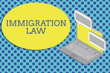Conceptual hand writing showing Immigration Law. Concept meaning Emigration of a citizen shall be lawful in making of travel Laptop receiving sending information internet wireless