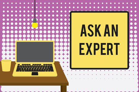 Conceptual hand writing showing Ask An Expert. Concept meaning consult someone who has skill about something or knowledgeable Front view laptop lying on wooden desktop light bulb glass Stockfoto