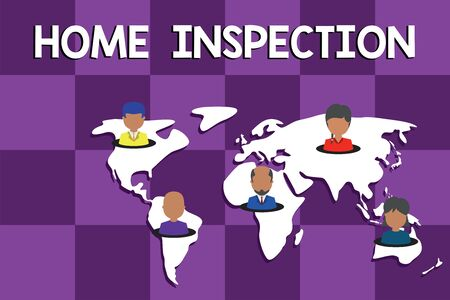 Text sign showing Home Inspection. Business photo text Examination of the condition of a home related property Connection multiethnic persons all over world. Global business earth map Stock fotó