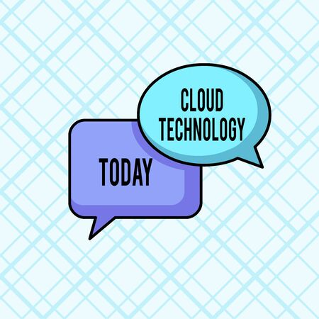 Word writing text Cloud Technology. Business photo showcasing storing and accessing data and programs over Internet Pair of Overlapping Blank Speech Bubbles of Oval and Rectangular Shape