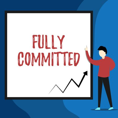 Word writing text Fully Committed. Business photo showcasing Extremely agreed to do something in life definitely View young man standing pointing up blank rectangle Geometric background Stock fotó - 125245652