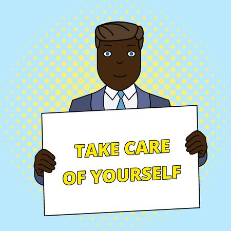Handwriting text Take Care Of Yourself. Conceptual photo a polite way of ending a gettogether or conversation Smiling Man Holding Formal Suit Big Blank Poster Board in Front of Himself Standard-Bild