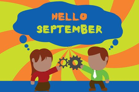 Text sign showing Hello September. Business photo showcasing Eagerly wanting a warm welcome to the month of September Standing young couple sharing gear. Man tie woman skirt commerce relation