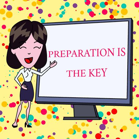 Text sign showing Preparation Is The Key. Business photo text it reduces errors and shortens the activities White Female in Standing Pointing Blank Screen Whiteboard Presentation