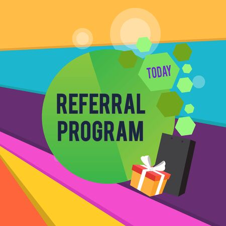 Word writing text Referral Program. Business photo showcasing employees are rewarded for introducing suitable recruits Greeting Card Poster Gift Package Presentation Box Decorated by Bowknot