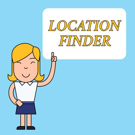 Writing note showing Location Finder. Business concept for A service featured to find the address of a selected place Woman Standing with Raised Left Index Finger Pointing at Blank Text Box Banco de Imagens