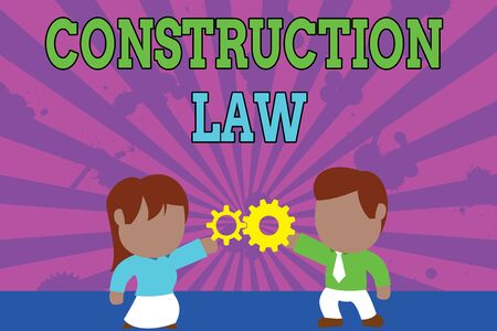 Conceptual hand writing showing Construction Law. Concept meaning deals with matters relating to building and related fields Young couple sharing gear Man tie woman skirt relation