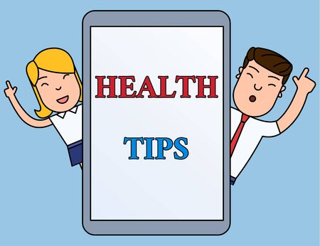 Writing note showing Health Tips. Business concept for advice or information given to be helpful in being healthy Male and Female Index Fingers Up Touch Screen Tablet Smartphone Device