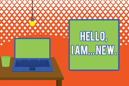 Writing note showing Hello I Am New. Business concept for introducing oneself in a group as fresh worker or student Front view open laptop lying on wooden desktop light bulb falling glass