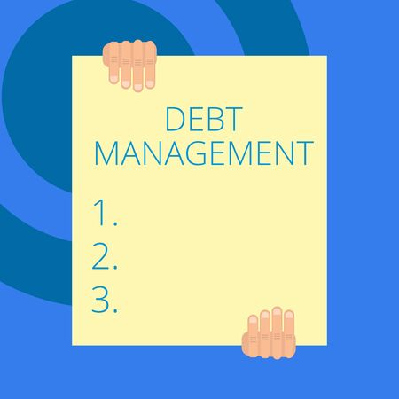 Writing note showing Debt Management. Business concept for The formal agreement between a debtor and a creditor Two hands holding big blank rectangle up down Geometrical background 写真素材