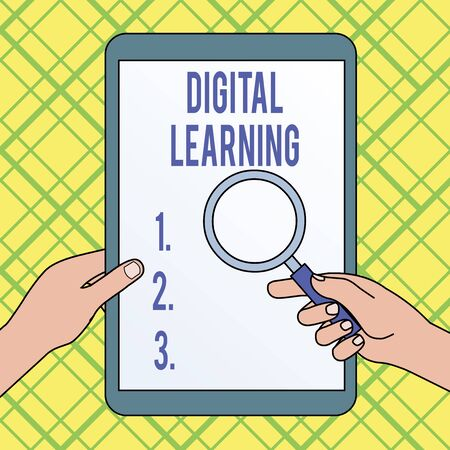 Writing note showing Digital Learning. Business concept for accompanied by technology or by instructional practice Hands Holding Magnifying Glass Against Switched Off Touch Screen Tablet Zdjęcie Seryjne - 125247407