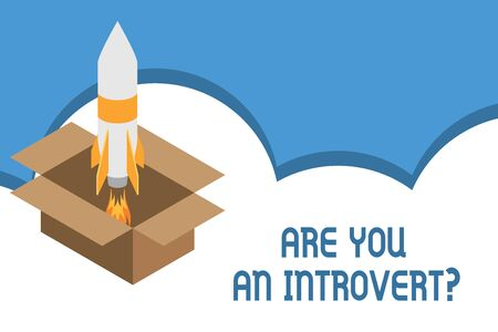 Writing note showing Are You An Introvert question. Business concept for demonstrating who tends to turn inward mentally Fire launching rocket carton box. Starting up project. Fuel inspiration Zdjęcie Seryjne - 125247414
