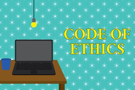 Handwriting text writing Code Of Ethics. Conceptual photo basic guide for professional conduct and imposes duties Front view open laptop lying on wooden desktop light bulb falling glass