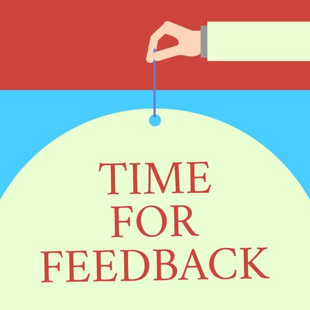 Word writing text Time For Feedback. Business photo showcasing information about reactions to a product or services Male hand arm needle punching big half blank balloon geometrical background Фото со стока