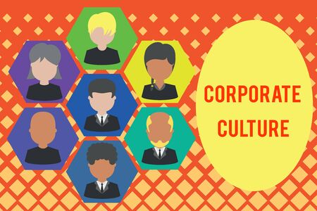 Word writing text Corporate Culture. Business photo showcasing pervasive values and attitudes that characterize a company Pictures frames chief executive and staff. Organization employees structure Stock Photo