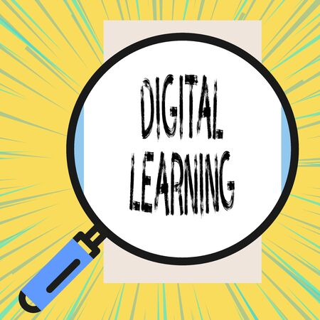 Writing note showing Digital Learning. Business concept for accompanied by technology or by instructional practice Big magnifier glass looking vertical rectangle. Geometrical background Zdjęcie Seryjne