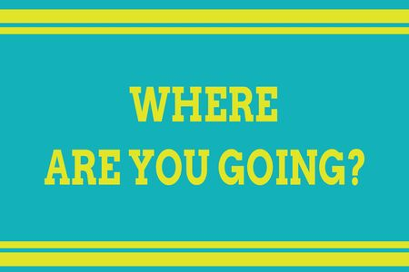 Word writing text Where Are You Going question. Business photo showcasing used to ask someone the destination headed to Seamless horizontal lines background drawing lines. Up and down stripes Zdjęcie Seryjne - 125247432