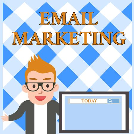 Conceptual hand writing showing Email Marketing. Concept meaning Sending a commercial message to a group of showing using mail Male Speaker Screen with Search Tool on Screen Presentation
