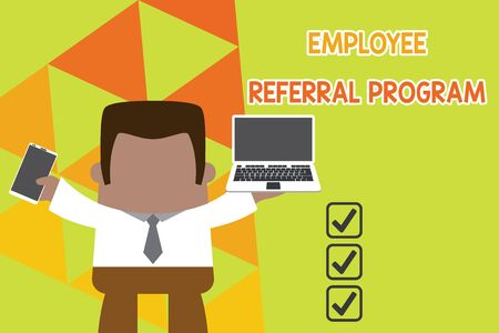Conceptual hand writing showing Employee Referral Program. Concept meaning employees are rewarded for introducing recruits Professional man holding laptop in left mobile phone right Foto de archivo