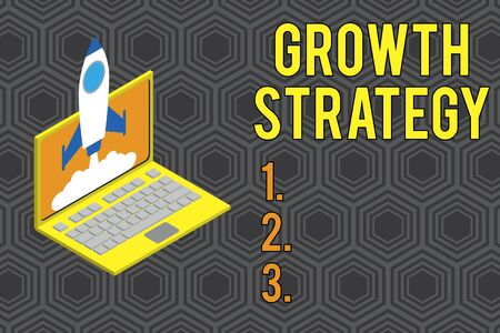 Conceptual hand writing showing Growth Strategy. Concept meaning Strategy aimed at winning larger market share in shortterm Rocket launching clouds laptop Startup project growing SEO