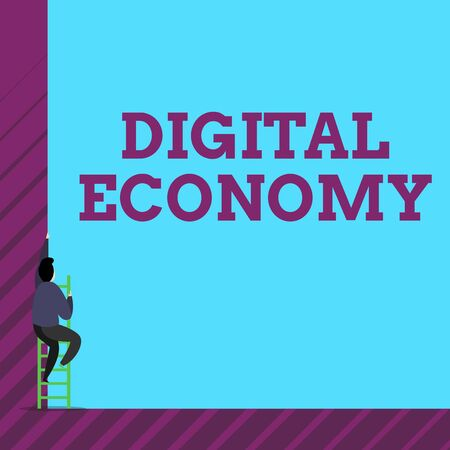 Text sign showing Digital Economy. Business photo text worldwide network of economic activities and technologies One male human person climb up the tall high wall use short ladder stairway Imagens
