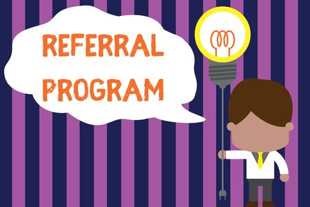 Text sign showing Referral Program. Business photo showcasing employees are rewarded for introducing suitable recruits Standing man tie holding plug socket light bulb to connect idea. Startup