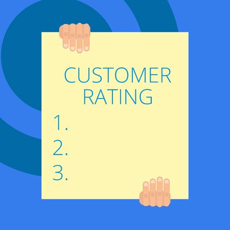 Writing note showing Customer Rating. Business concept for Each point of the customers enhances the experience Two hands holding big blank rectangle up down Geometrical background
