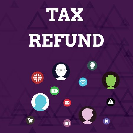 Writing note showing Tax Refund. Business concept for refund on tax when the tax liability is less than the tax paid Networking Technical Icons Chat Heads on Screen for Link Up Banco de Imagens
