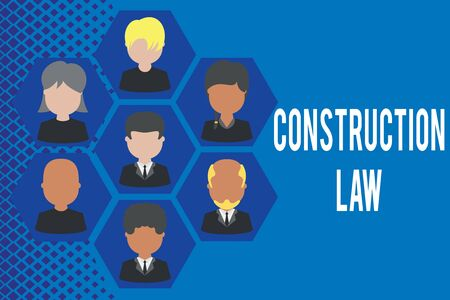 Word writing text Construction Law. Business photo showcasing deals with matters relating to building and related fields Pictures frames chief executive and staff. Organization employees structure