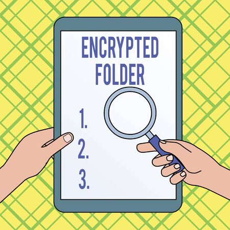 Writing note showing Encrypted Folder. Business concept for protect confidential data from attackers with access Hands Holding Magnifying Glass Against Switched Off Touch Screen Tablet Zdjęcie Seryjne