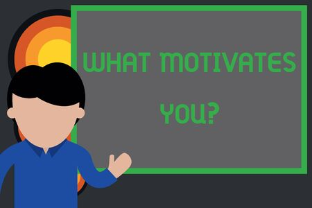 Text sign showing What Motivates Youquestion. Business photo showcasing know reasons why you want to wake up each morning Young man standing in front whiteboard pointing to project. photo Art