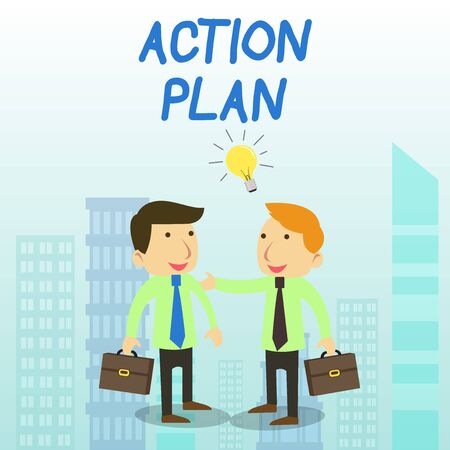 Word writing text Action Plan. Business photo showcasing proposed strategy or course of actions for certain time Two White Businessmen Colleagues with Brief Cases Sharing Idea Solution