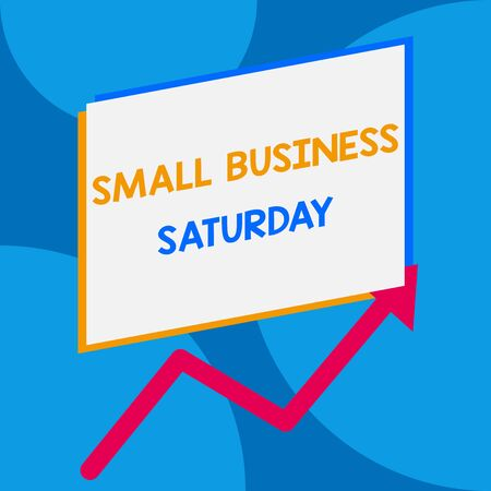 Word writing text Small Business Saturday. Business photo showcasing American shopping holiday held during the Saturday One blank rectangle above another arrow zigzag upwards increasing sale
