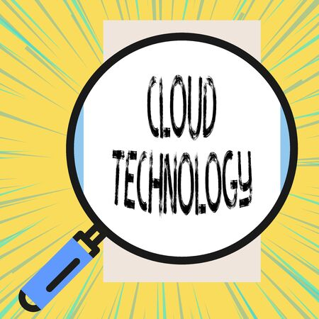 Writing note showing Cloud Technology. Business concept for storing and accessing data and programs over Internet Big magnifier glass looking vertical rectangle. Geometrical background Stock fotó