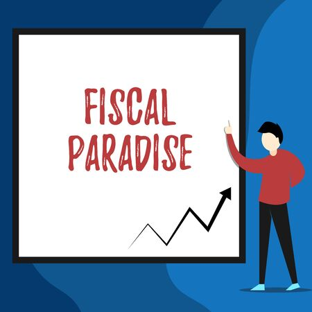 Word writing text Fiscal Paradise. Business photo showcasing The waste of public money is a great concern topic View young man standing pointing up blank rectangle Geometric background Standard-Bild