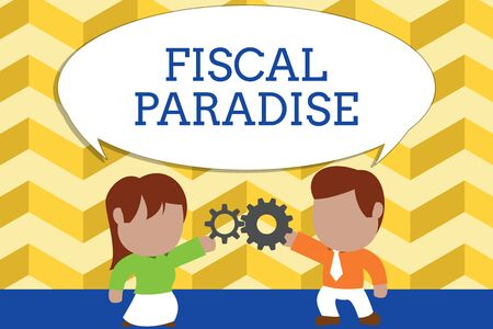 Word writing text Fiscal Paradise. Business photo showcasing The waste of public money is a great concern topic Standing young couple sharing gear. Man tie woman skirt commerce relation Standard-Bild