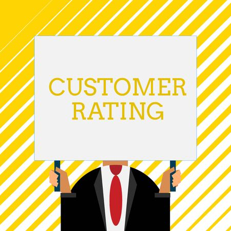 Handwriting text writing Customer Rating. Conceptual photo Each point of the customers enhances the experience Old fashioned way to pick people at airport hold big board with two hands