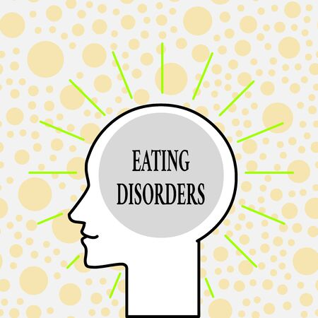 Writing note showing Eating Disorders. Business concept for any of a range of psychological abnormal food habits Outline Silhouette Human Head Surrounded by Light Rays Blank Text Space