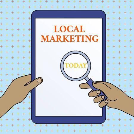 Text sign showing Local Marketing. Business photo showcasing A local business where a product buy and sell in area base Hands Holding Magnifying Glass Against Switched Off Touch Screen Tablet