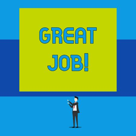 Word writing text Great Job. Business photo showcasing sed for telling someone that they have done something well Isolated view young man standing pointing upwards two hands big rectangle