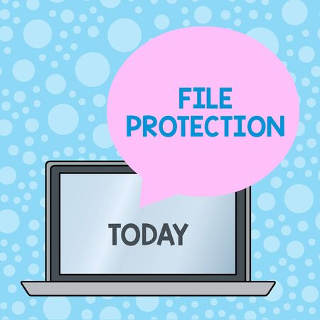 Writing note showing File Protection. Business concept for Preventing accidental erasing of data using storage medium Round Shape Speech Bubble Floating Over Laptop Backdrop Standard-Bild