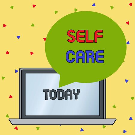 Handwriting text writing Self Care. Conceptual photo the practice of taking action to improve one s is own health Round Shape Empty Speech Bubble Floating Over Open Laptop Colored Backdrop Stock fotó