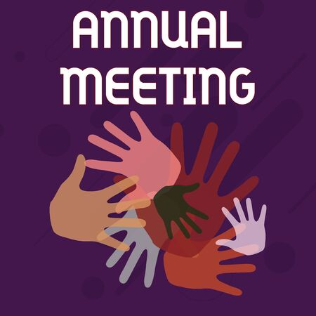 Writing note showing Annual Meeting. Business concept for yearly meeting of the general membership of an organization Hand Marks of Different Sizes for Teamwork and Creativity Banco de Imagens