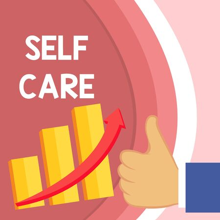 Handwriting text Self Care. Conceptual photo the practice of taking action to improve one s is own health Thumb Up Good Performance Success Escalating Bar Graph Ascending Arrow