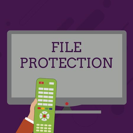 Word writing text File Protection. Business photo showcasing Preventing accidental erasing of data using storage medium Hand Holding Computer Remote Control infront of Blank Wide Color PC Screen Standard-Bild