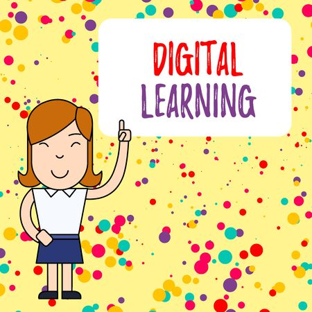 Handwriting text writing Digital Learning. Conceptual photo accompanied by technology or by instructional practice Woman Standing with Raised Left Index Finger Pointing at Blank Text Box Banque d'images