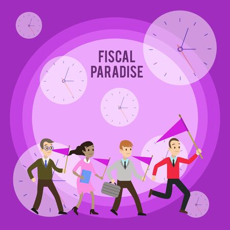Conceptual hand writing showing Fiscal Paradise. Concept meaning The waste of public money is a great concern topic Crowd Flags Headed by Leader Running Demonstration Meeting